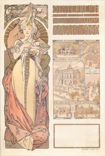 Póster del pabellón austríaco de la Exposición Universal de París de1900, en el apogeo de la Belle Époque. Ejemplo de Art Nouveau. Autor: Alphonse Mucha.