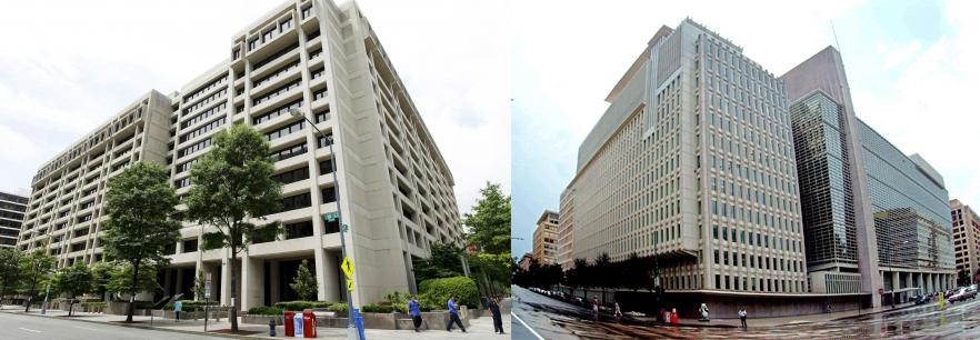 Oficinas centrales del Fondo Monetario Internacional (izquierda) y del Banco Mundial (derecha). Ambas oficinas se encuentran enfrente una de otra en Washington D.C. Composición propia.