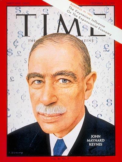 """Portada de la revista """"Time"""", dedicada a John Maynard Keynes. 31 de diciembre de 1965. Autor: Robert Vickrey."""