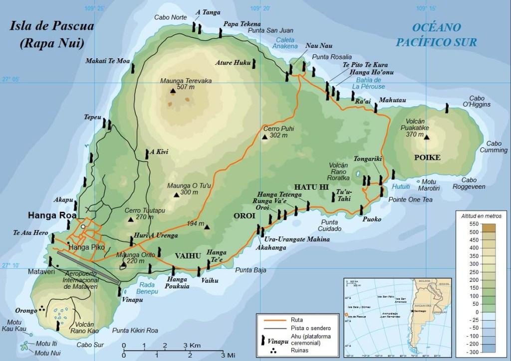 Mapa de la isla de Pascua (Rapa Nui) con los accidentes geográficos en rapanui y castellano. Incluye la ubicación de los moais más conocidos.