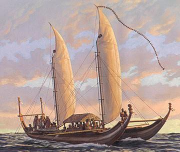 Catamarán polinesio (más concretamente, es una reconstrucción idealizada de un modelo tahitiano).