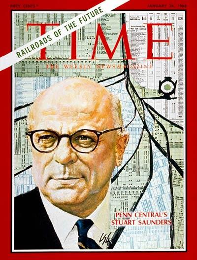 """Portada de la revista Times del 26 de enero de 1968 con una imagen del rostro de Stuart Thomas Saunders. En la misma portada se puede leer: """"los ferrocarriles del futuro""""."""