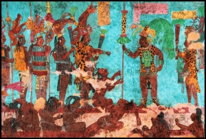 Frescos de Bonampak, selva lacandona de Chiapas, México. Muestran cautivos de guerra esclavizados.