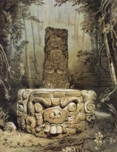 """""""Ídolo y altar de Copán"""", por Catherwood."""