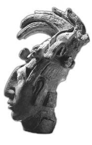 """Escultura de la cabeza del soberano Pacal de la dinastía Janaab, llamado popularmente """"el Grande"""", señor de Palenque."""