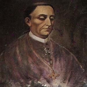 Fuente: Retrato de Diego de Landa Calderón, obispo de Yucatán, colgado en el Camarín de la Virgen del convento de Izamal.