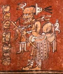 Dios A o Ah Puch, uno de los dioses de la muerte mayas, en su aspecto de cazador.