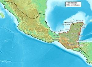 Asentamientos mayas y extensión de la civilización maya dentro del espacio cultural mesoamericano.