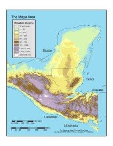 Mapa físico de los territorios de la civilización maya.