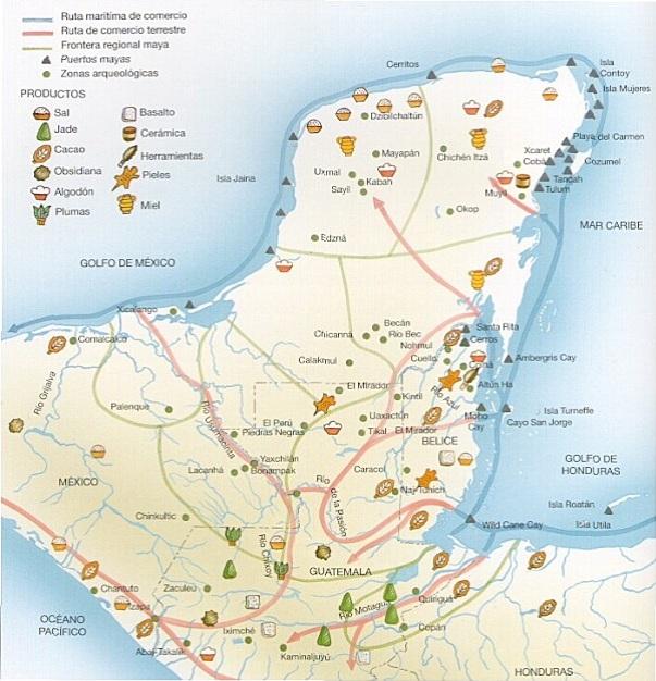 Rutas comerciales mayas.