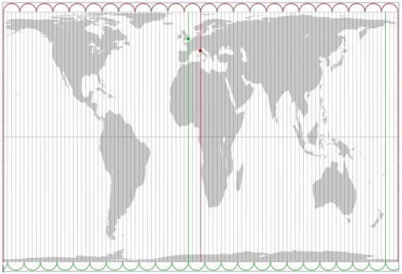 Proyección de Gall-Peters (con el cambio horario en el estrecho de Bering).