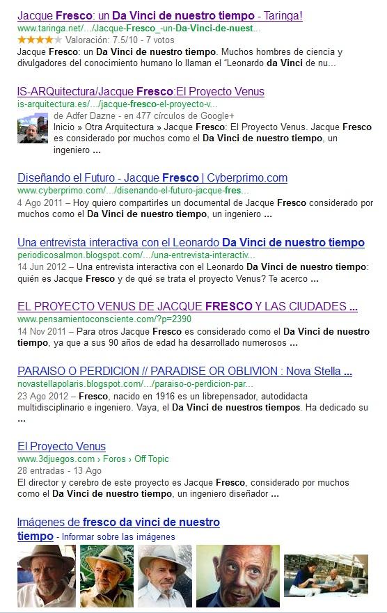 Alabanzas hacia el PV en una búsqueda genérica de agosto de 2012 en Google.