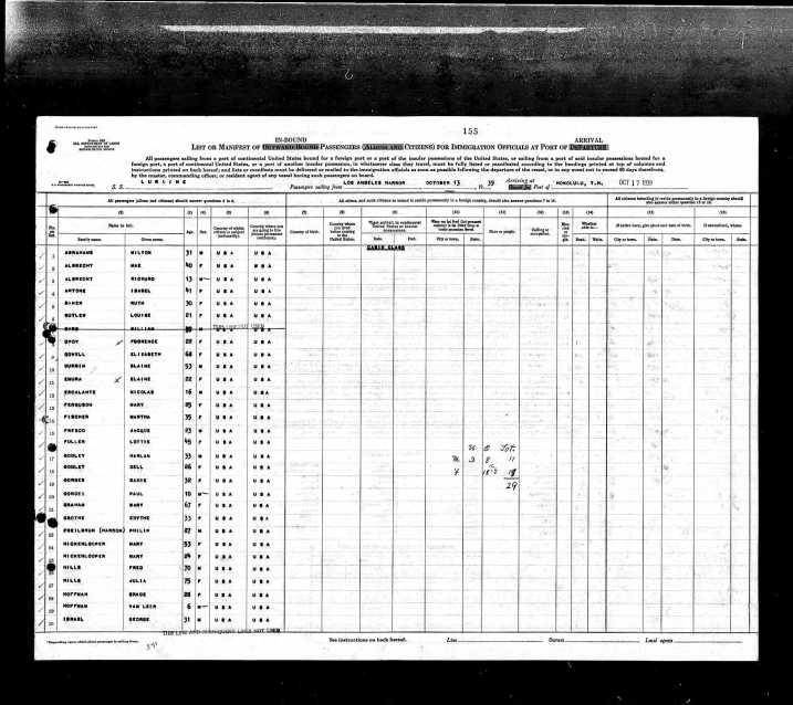 Listado de pasajeros de barco donde aparece Jacque Fresco. 1939.