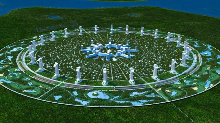 Una de las imágenes de la ciudad circular de Jacque Fresco y su Proyecto Venus.