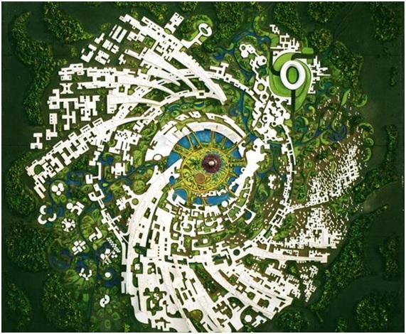 Visión final del proyecto de Auroville.