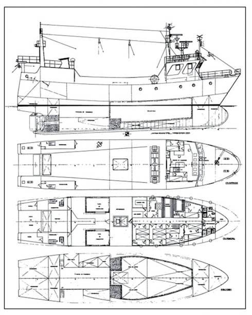 Plano de disposición general de un barco pesquero.