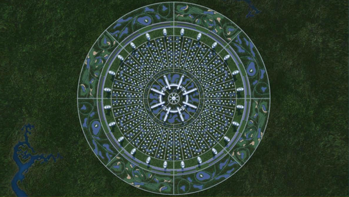 Boceto coloreado de la ciudad circular de Jacque Fresco.