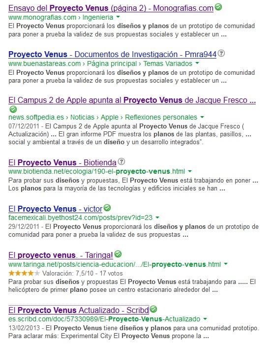 Captura de pantalla. Búsqueda en Google de las especificaciones técnicas del Proyecto Venus en junio de 2013. Resultado: negativo.