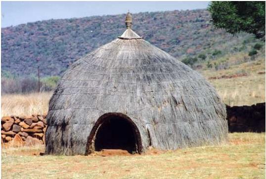 Cabaña zulú en Sudáfrica.