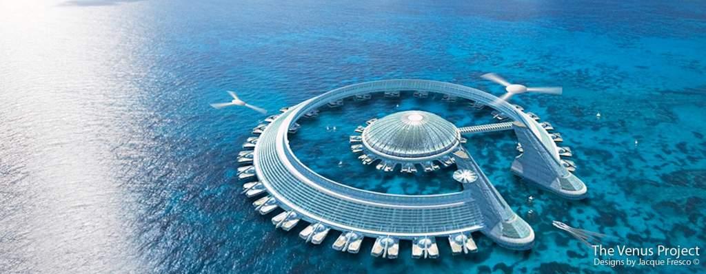 """Diseño de """"ciudad marina"""" de Jacque Fresco. La obsesión de este tío con las formas circulares raya en lo enfermizo. No te digo """"ná"""" y te lo digo """" tó""""."""