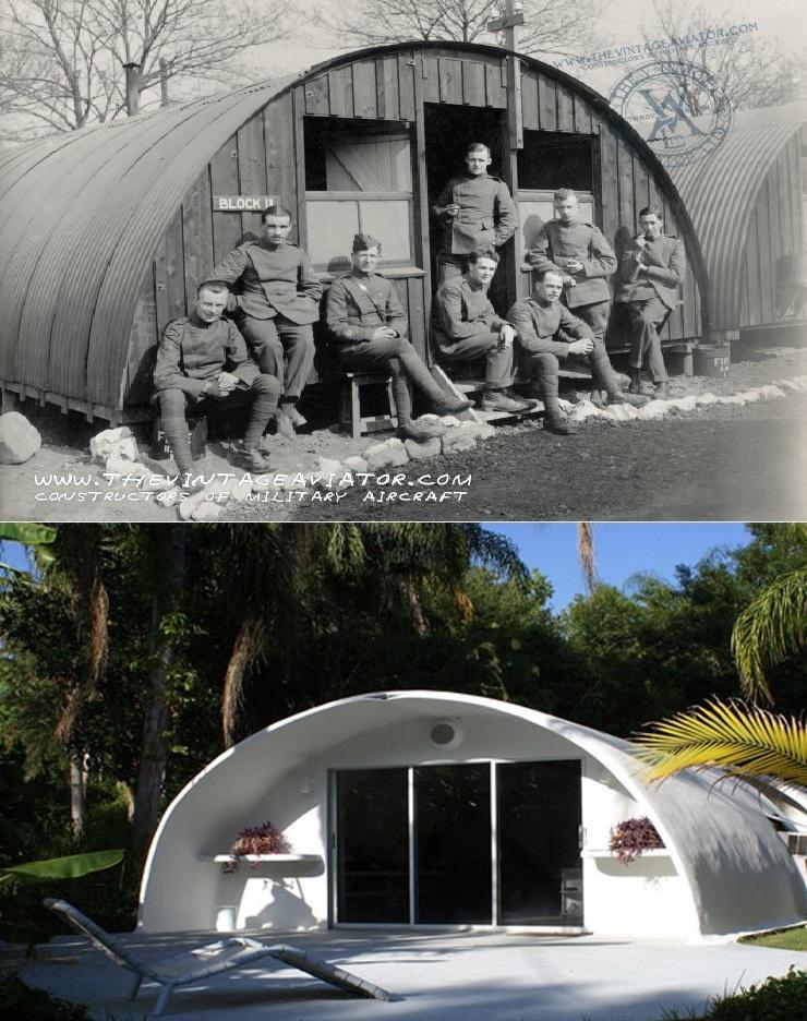 Comparativa entre una cabaña Quonset y un edificio del Proyecto Venus. Más claro, agua que baja del monte.