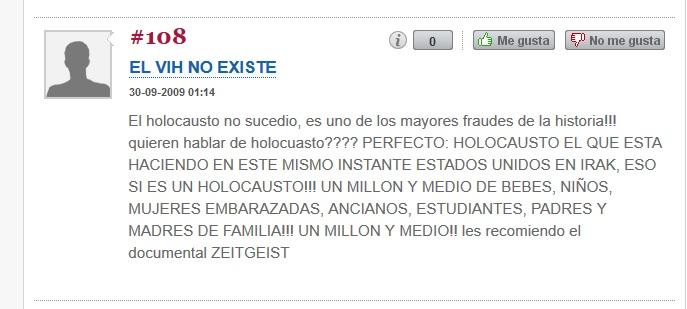 """Captura de pantalla de comentario de un partidario de Zeitgeist. Nótense la cantidad de conspiranoias que se encuentran en el texto. Diario """"Público""""."""