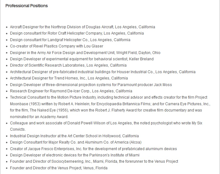 Captura de pantalla del curriculum de Jacque Fresco en su página oficial.