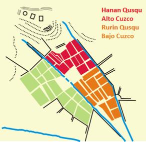 Plano del antiguo Cuzco, capital inca.