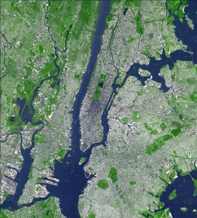 Fotografía por satélite de la ciudad de Nueva York.