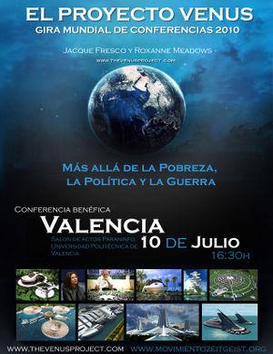Cartel publicitario de la conferencia de Jacque Fresco en Valencia, en 2010.