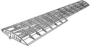 Estructura interna de largueros y larguerillos de un ala de avión. Obsérvese la disposición del cableado interno.