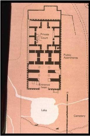 Plano del centro de Gor (Firuzabad), Irán.