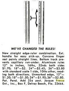 Anuncio publicitario de una regla de aluminio de Jacque Fresco.