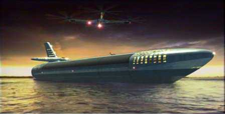 """Buque de carga """"Ships with detachable components"""" página 39 del libro """"Designing the future"""" de Jacque Fresco. No sé qué es más absurdo: si el buque o el helicóptero de tres hélices."""