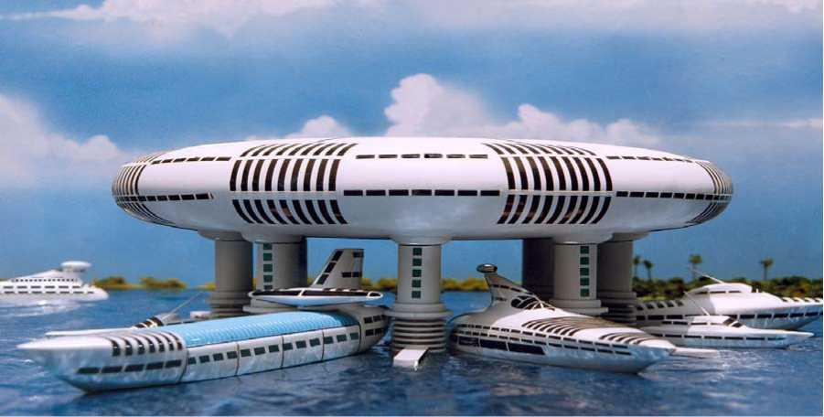 """Maquetas de barcos y ¿muelle? de carga/descarga. Jacque Fresco. """"Designing the Future""""."""