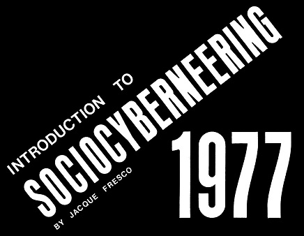 "La portada/folleto de ""Introduction to Sociocyberneering""."