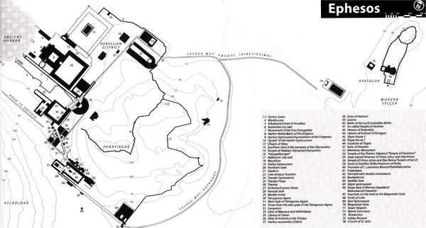 Mapa de la antigua ciudad griega de Éfeso, en Asia Menor.