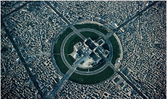 Vista aérea del centro de Mashhad, Irán.