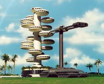 """Maqueta de una """"megamáquina"""" (sic) del Proyecto Venus, montando un inverosímil edificio prefabricado."""