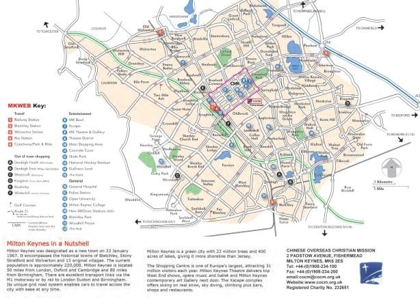 Mapa turístico de Milton-Keynes, Inglaterra.