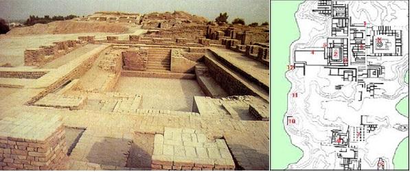 Plano de Mohenjo-daro (derecha) y vista de las excavaciones arqueológicas de las calles de la ciudad (izquierda): obsérvese la perfección de las líneas rectas.