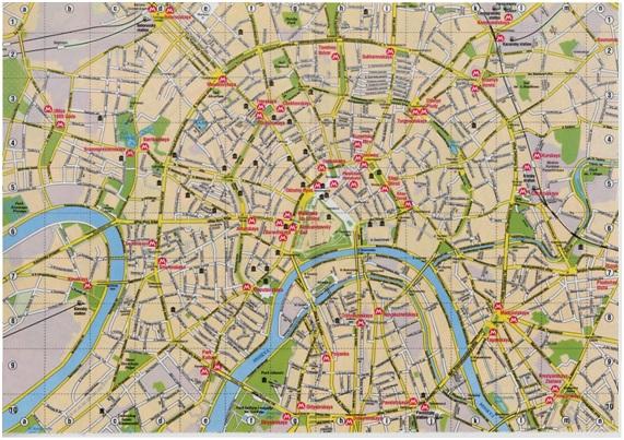 Plano del centro de Moscú.