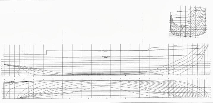 Plano de formas del buque de investigación oceanográfica (BIO) Hespérides.