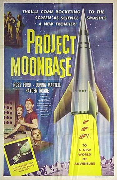 "Cartel original de cine de la película ""Project Moonbase"", de 1953."