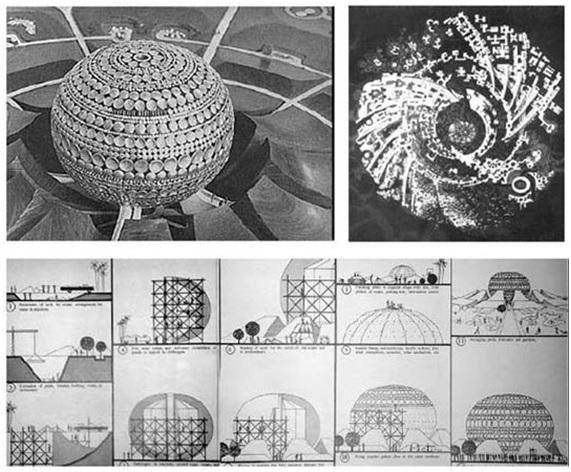 Esquema de presentación y croquis de construcción de Auroville, en la India. Autor: Roger Anger.