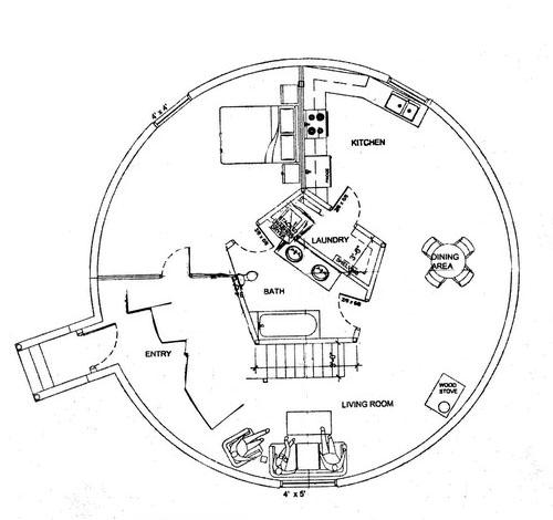 Plano de un domo monolítico como vivienda.
