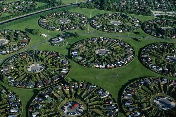 Urbanización danesa en las afueras de Copenhague.