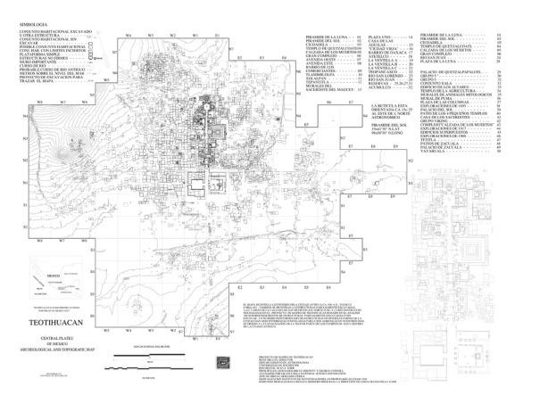 Plano de Teotihuacán. México.