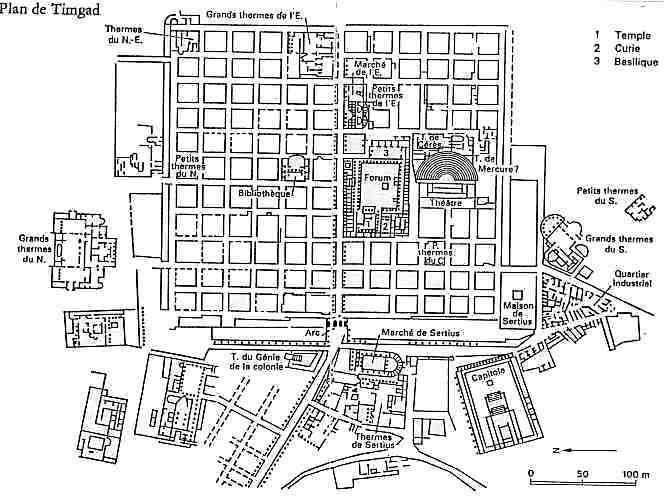 Plano de la ciudad-campamento romana de Timgad, en Argelia.