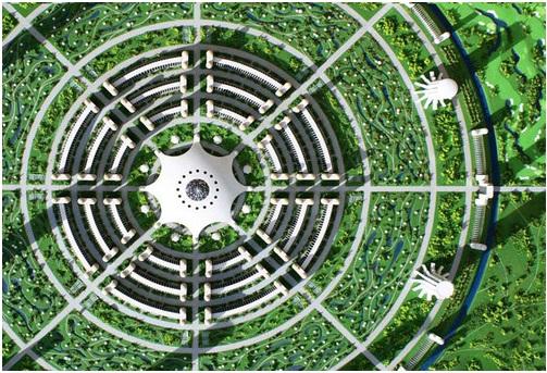 Vista aérea del diseño de ciudad del Proyecto Venus.